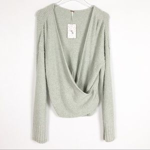 FREE PEOPLE Chic Cozy  Faux Wrap Sweater L NEW
